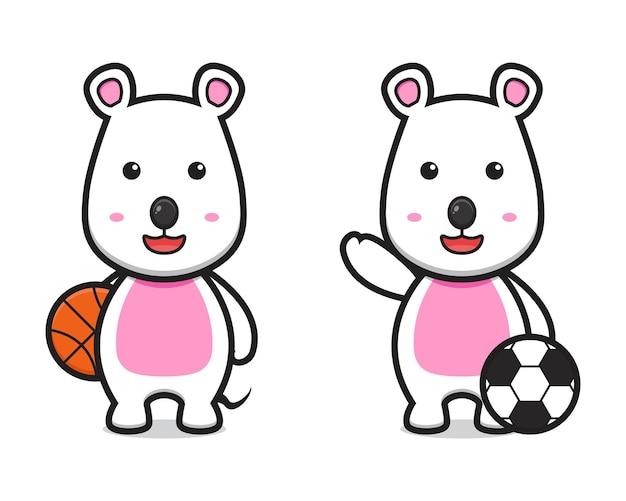 농구와 축구 만화 벡터 아이콘 그림을 재생하는 귀여운 마우스. 격리 된 평면 만화 스타일을 디자인합니다.
