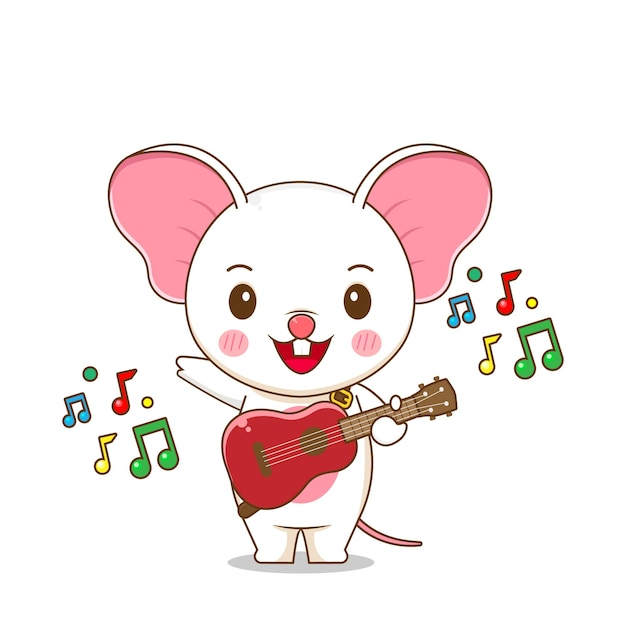 A cute mouse playing guitar