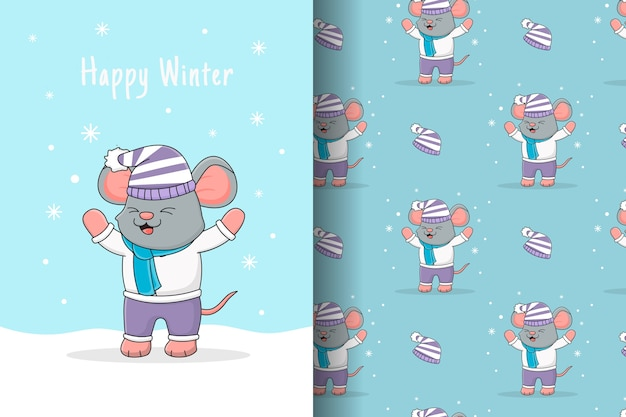 Cute mouse playing with snow seamless pattern and card