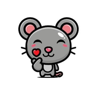 Милая мышь позирует палец любовь