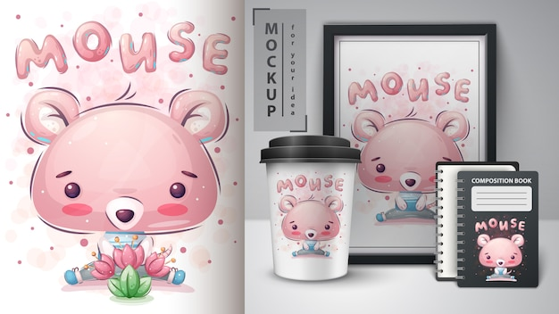 Cute mouse - poster and merchandising