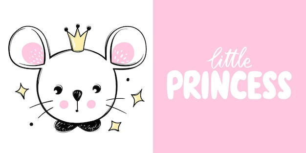 Cute mouse princess with crown isolated on white with lettering