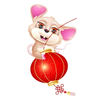 Cute mouse riding lantern kawaii cartoon vector character. asian zodiac sign.