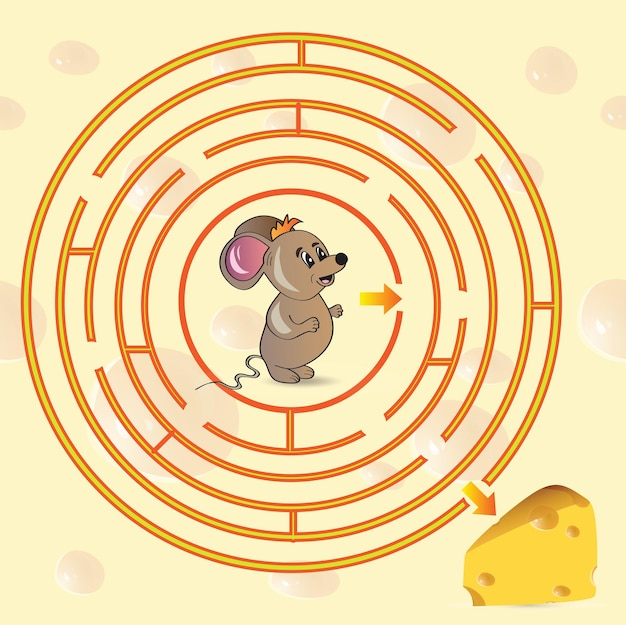Cute mouse's maze game help mouse to find his cheese - vector illustration