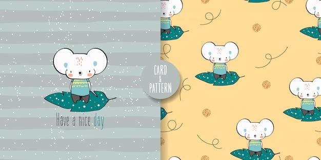 かわいいマウスのシームレスなパターンとイラスト