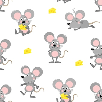 Cute mouse seamless pattern
