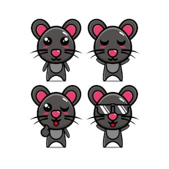 귀여운 마우스 세트 컬렉션 벡터 일러스트 레이 션 마우스 마스코트 캐릭터 플랫 스타일 만화