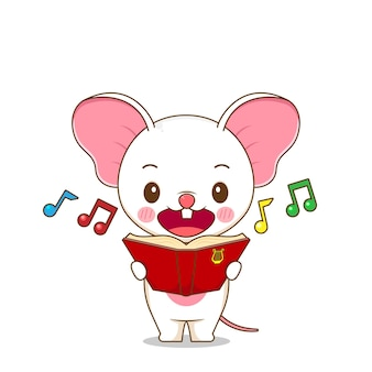 A cute mouse sings a song