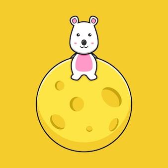 귀여운 마우스는 치즈 행성 만화 벡터 아이콘 삽화에 앉아 있습니다. 격리 된 평면 만화 스타일을 디자인합니다.