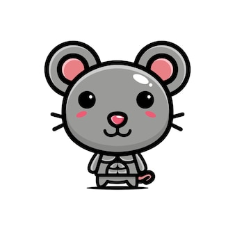 Cute mouse strong and muscular
