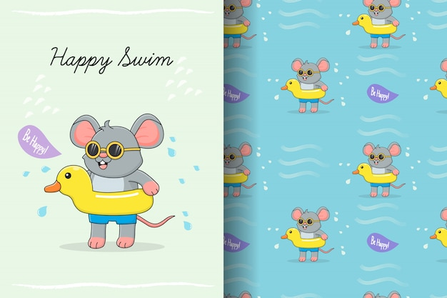 Cute mouse swimming with yellow duck rubber seamless pattern and card