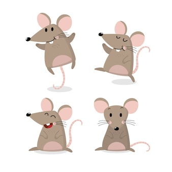 Cute mouse vector set. little rat has long tail collection.