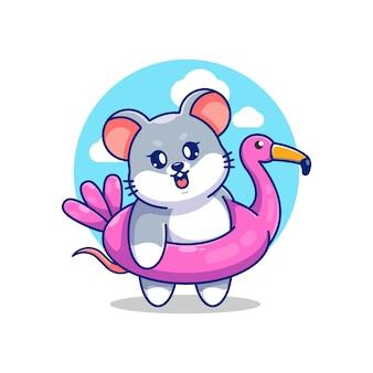플라밍고 수영 반지 만화를 입고 귀여운 마우스