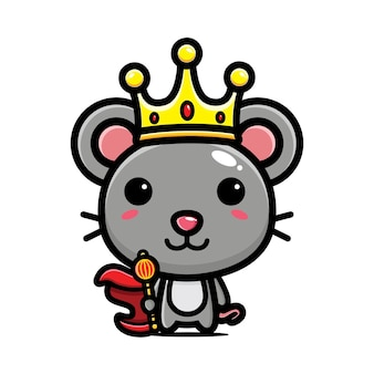 Cute mouse wearing king costume