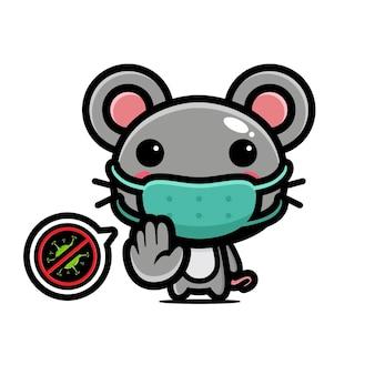 중지 바이러스 포즈와 마스크를 쓰고 귀여운 마우스