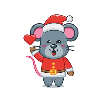 Cute mouse wearing santa costume in christmas day cute christmas cartoon illustration