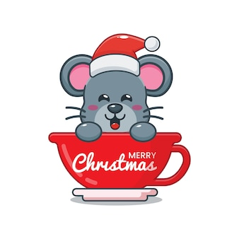 Cute mouse wearing santa hat in cup cute christmas cartoon illustration