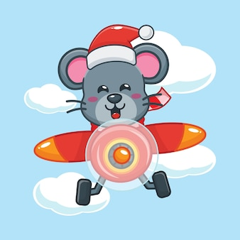 Cute mouse wearing santa hat fly with plane in christmas day cute christmas cartoon illustration
