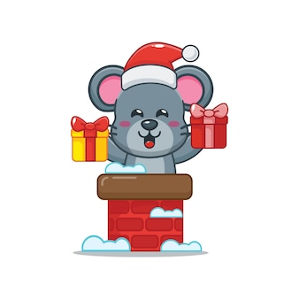 Cute mouse wearing santa hat out of chimney cute christmas cartoon illustration