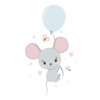 風船と蝶とかわいいマウス