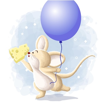 Cute mouse with balloon and cheese