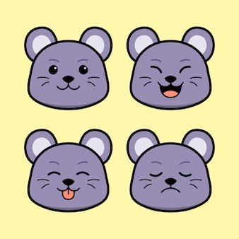Cute mouse with face expression animal set