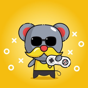 Cute mouse with game controller mascot character
