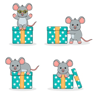 Cute mouse with gift box