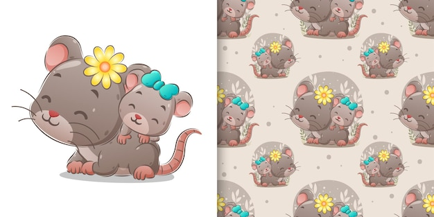 The cute mouse with her baby on her baby taking around in the seamless background of illustration