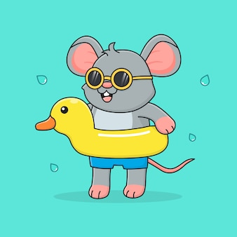 Cute mouse with rubber duck and sunglasses