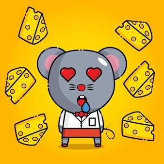 Милая мышка с секретаршей между сыром