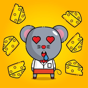 Cute mouse with secretary uniform between the cheese