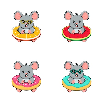 Cute mouse with swim ring orange, watermelon, and doughnut