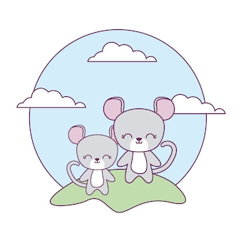 Cute mouses animals in landscape