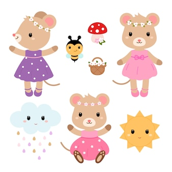 Cute mouses and design elements vector flat illustration.
