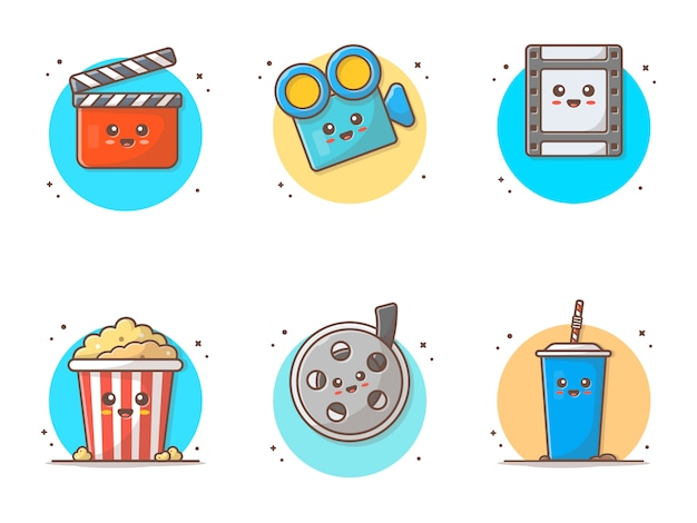 Cute movie character vector icon illustration