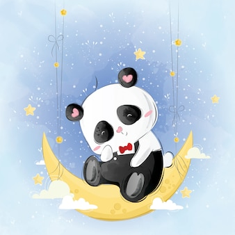 Cute mr. pando on the moon