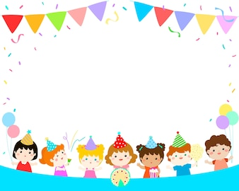 Cute multicultural kids party template