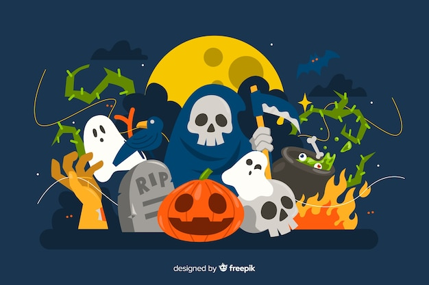 Cute multiple characters halloween background in flat design