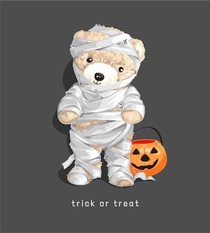 Cute mummy bear doll with trick or treat slogan