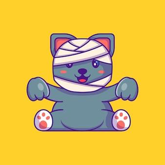 Милая мумия кошка счастливого хэллоуина с мультяшными иллюстрациями