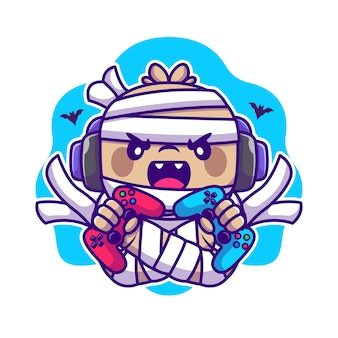 Cute mummy gaming cartoon illustration. halloween gaming icon concept