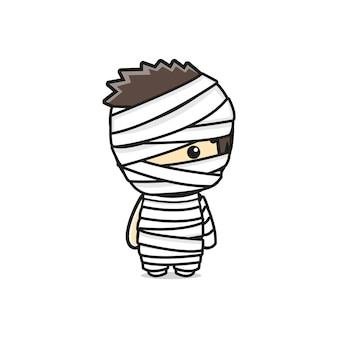 Милая мумия хэллоуин персонаж мультфильма значок иллюстрации. дизайн изолированные плоский мультяшном стиле