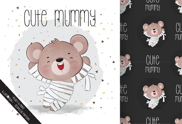 シームレスなパターンでかわいいミイラの小さなクマの幸せなハロウィーン