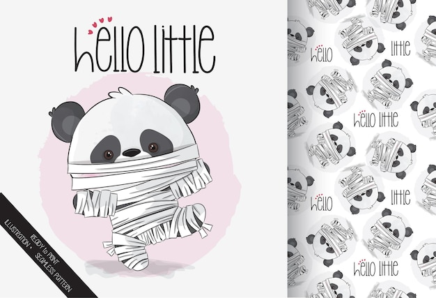 원활한 패턴으로 귀여운 미라 리틀 팬더 해피 할로윈