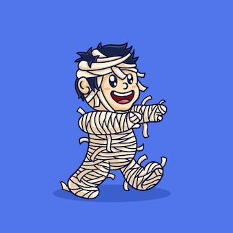 Милая мумия гуляет на хэллоуин событие мультфильм