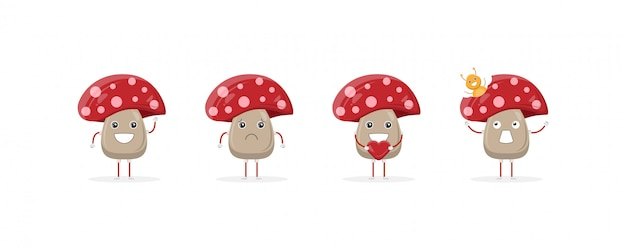 Cute mushroom cartoon character mascot