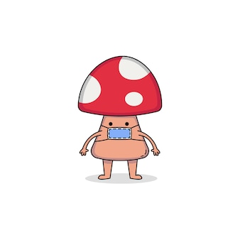 Cute mushroom cartoon character wearing mask