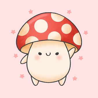 Cute mushroom cartoon hand drawn style