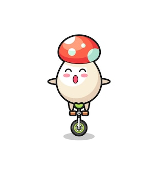 The cute mushroom character is riding a circus bike , cute style design for t shirt, sticker, logo element